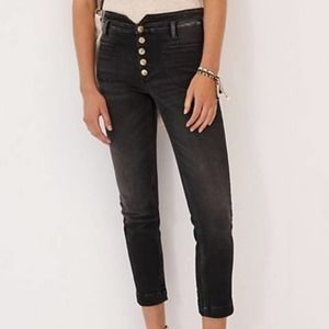 Anthropologie Pilcro High-Rise Utility Jeans Washed Black Distressed Size 26